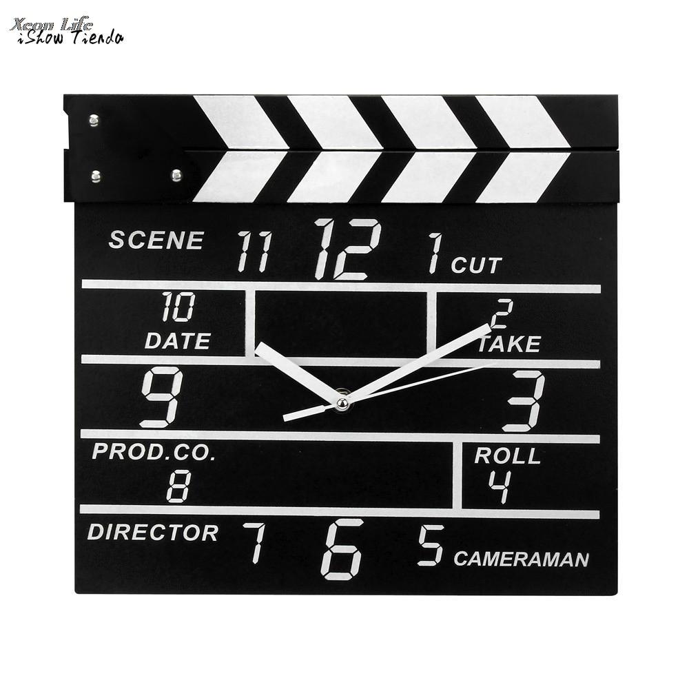 1Pc Creative Cinema Movie Slate Analog Wall Clock Clapper Film Modern Home Livingroom Bed Room Hanging Clock Black