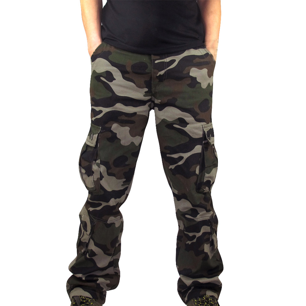 Feitong Heren Joggers Broek Camouflage Pocket Overalls Casual Pocket Sport Werk Casual Broek Merk Joggingbroek Mannen Casual Broek