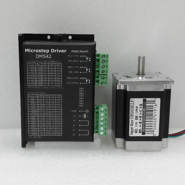 DM542 + 57BYGH250C (78mm) 1.8N.M DC24-50V moteur pas à pas 57 moteur NEMA23 moteur pas à pas 3A CNC découpe Laser mousse Plasma