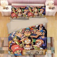 3D Cool One Piece Anime Character Duvet Cover Twin Full Queen Super King Single Double Size Bedding sets for Teen Boys or Adults