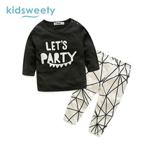 Kidsweety Kids Sets Letter Pattern Pullover Boys T-Shirt Pants Unisex Child Suits Girls Hoodie Trousers Loose Twinset Kid Sets