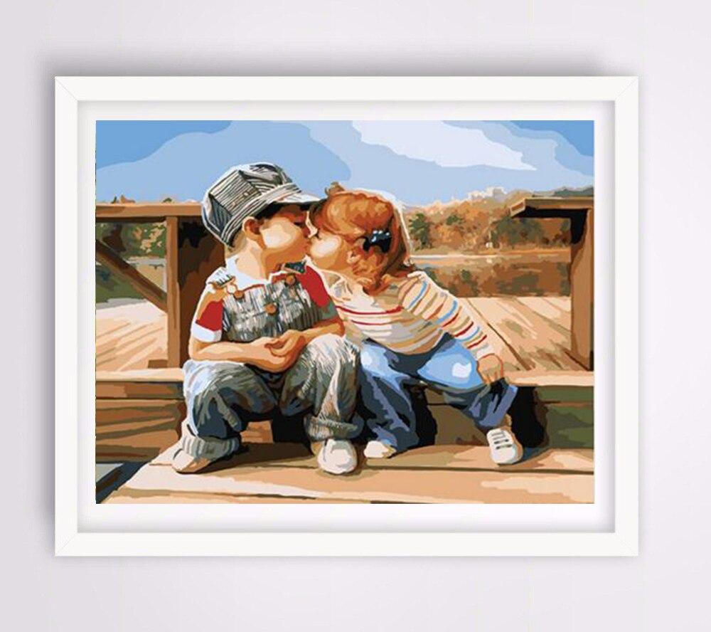 Kinder liebe r Digital Acrylic Paint Kit Ölgemälde durch zahlen mit ...