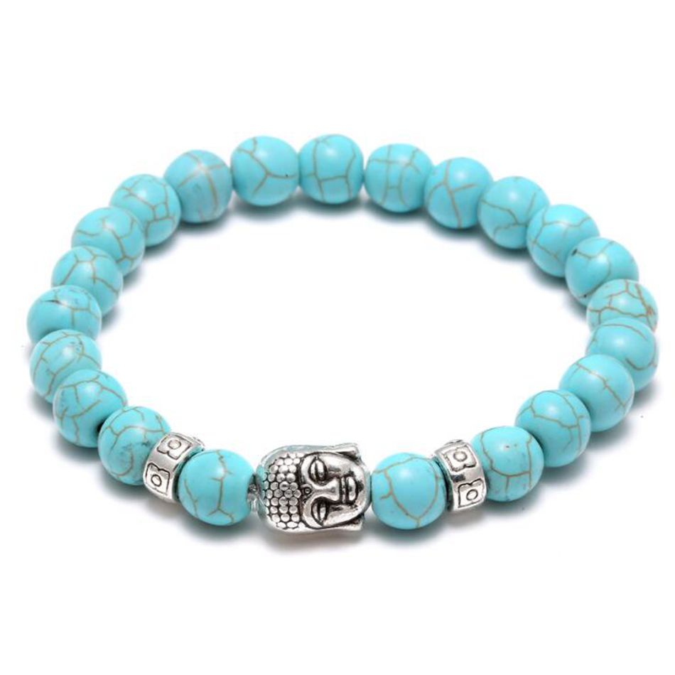 10pcs Men Elastic Fashion Turquoises Ancient Silver Buddha Head Beaded Cuff  Charm Bangle Bracelet(china