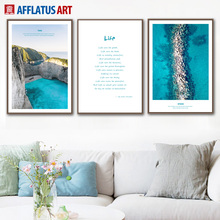 AFFLATUS Sea Mountains Strait Life Quotes Landscape Nordic Poster Wall Art Print Canvas Painting Pictures For Living Room