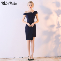 PotN'Patio Navy Blue Elegant One Shoulder Knee Length Cocktail Dresses 2018 New Arrival Short Evening Party Dresses