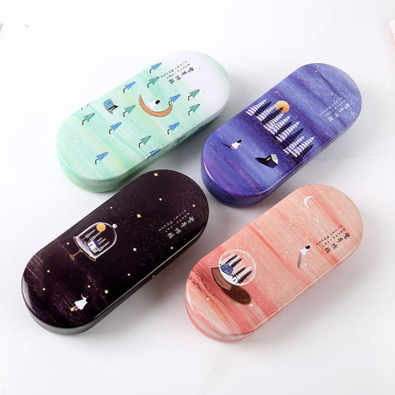 1 Pcs Candy Color Lovely Hard Night Moon Star Lonely Glasses Case Cute Iron Tin Metal Spectacle Case Students Stationery Gift
