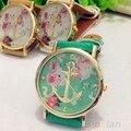 Couro do Falso das mulheres Floral Impresso Anchor Quartz Vestido Relógio de Pulso 1NTS 22ZJ