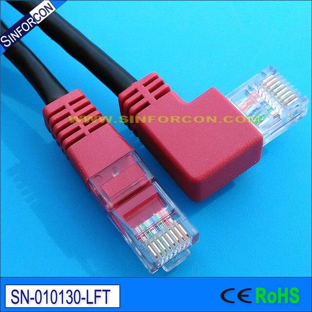 Left Side Angled L Shape Rj45 Ethernet Jumper Cable 5e Patch Cord Plug Lan Cat5