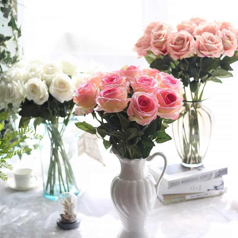 10 unidades/lotes Floral Rose Flores Artificiais Flores De Seda Do Casamento de Rosa Bouquet Home Decor Flores Do Partido Da Dama de honra