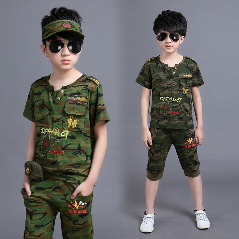 Children Boys Camouflage Clothing Set Summer Fashoin Kids Army Clothes Set  Kids Boy Cotton T Shirt + Pants 2 Pieces Casual Suits 0360214615c
