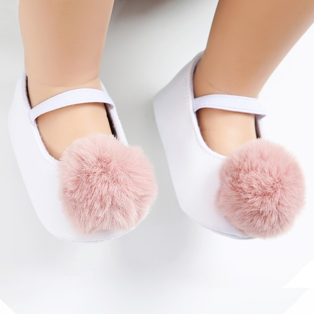ebedc7c239c8 Baby Girls Princess Shoes Small Pom-Pom Baby Toddler Shoes Soft Infant Girl  PU Prewalker New Born Baby Shoes 0-18M F