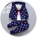 2017 Весна детская одежда девушки/мальчики дети минни микки девушки мальчиков детской одежды футболка + пальто + брюки 3 костюм одежда для новорожденных наборы 1 2 3 4Y