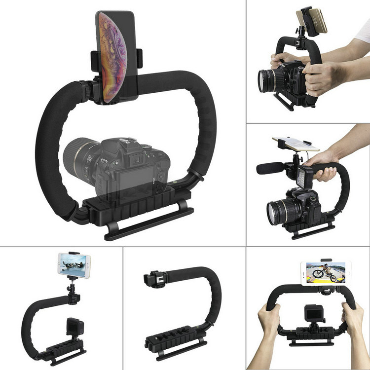 Dual Hand Holder U grip Camera Steadycam Mount Handheld Stabilizer Rig for Canon EOS Nikon Sony Olympus DSLR Camera Camcorder-in Sports Camcorder Cases from Consumer Electronics    1