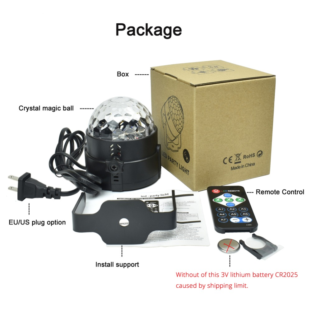 Mini RGB 3W Crystal Magic Ball Led Stage Lamp DJ KTV Disco Laser Light Party Lights Sound IR Remote Control Christmas Projector 3