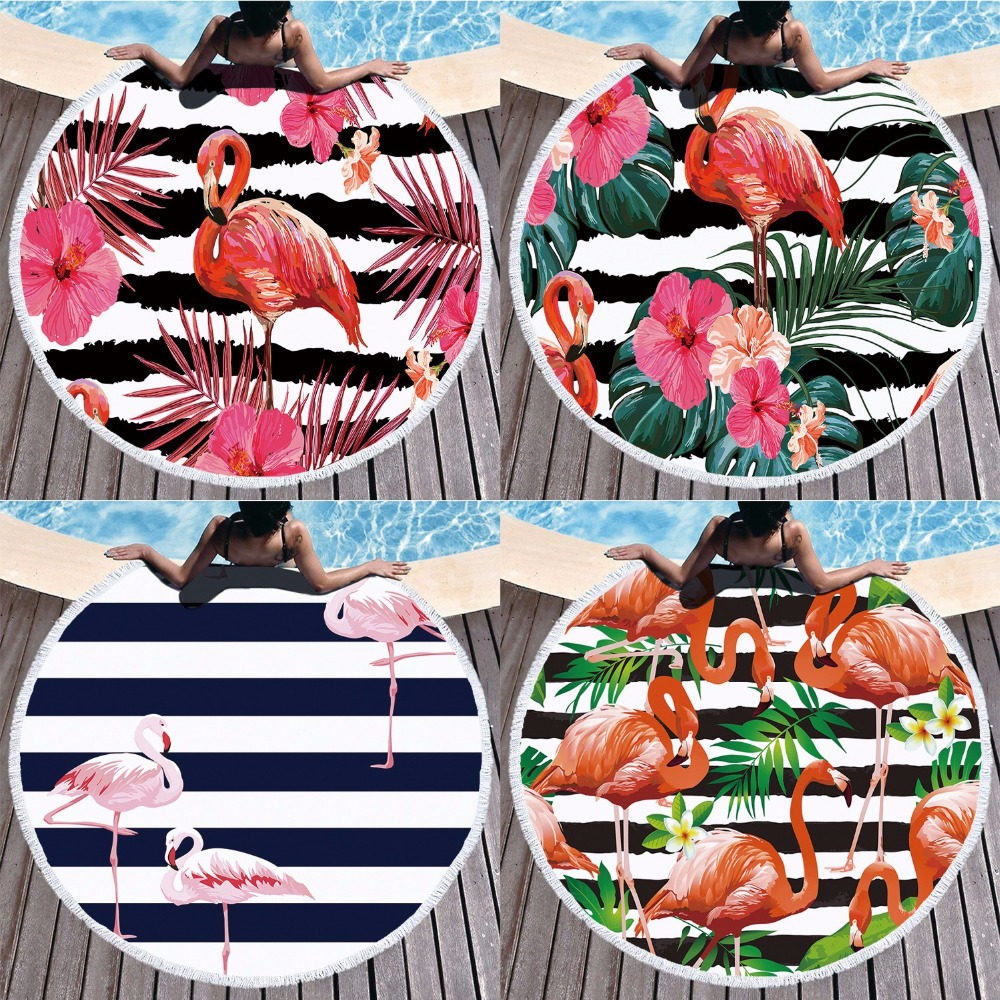 Home & Garden New 150cm Round Mandala Microfiber Geometric Flamingo Large Beach Towels For Living Room Home Decor Boho Bath Towels For Adults Preventing Hairs From Graying And Helpful To Retain Complexion