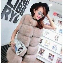 Thick Warm Fox Fur Vest Winter Warm Fashion Long Women Faux Fur Vest Faux Fur Coat Women winter coat