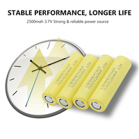 1/2/4/6/8/10 Pieces Rechargeable 3.7V Yellow Flat-top 18650 Batteries 3.7 V 2500mAh 18650 Lithium Li-ion Battery Replacement 1