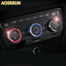 Aluminum alloy Interior Air conditioning knob ring decoration Car Accessories For Volkswagen VW Tiguan 2017