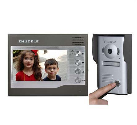 ZHUDELE Home CCTV 7 Inch Color TFT LCD Video Doorphone Door Bell Intercom IR Outdoor Camera 1camera+1monitor