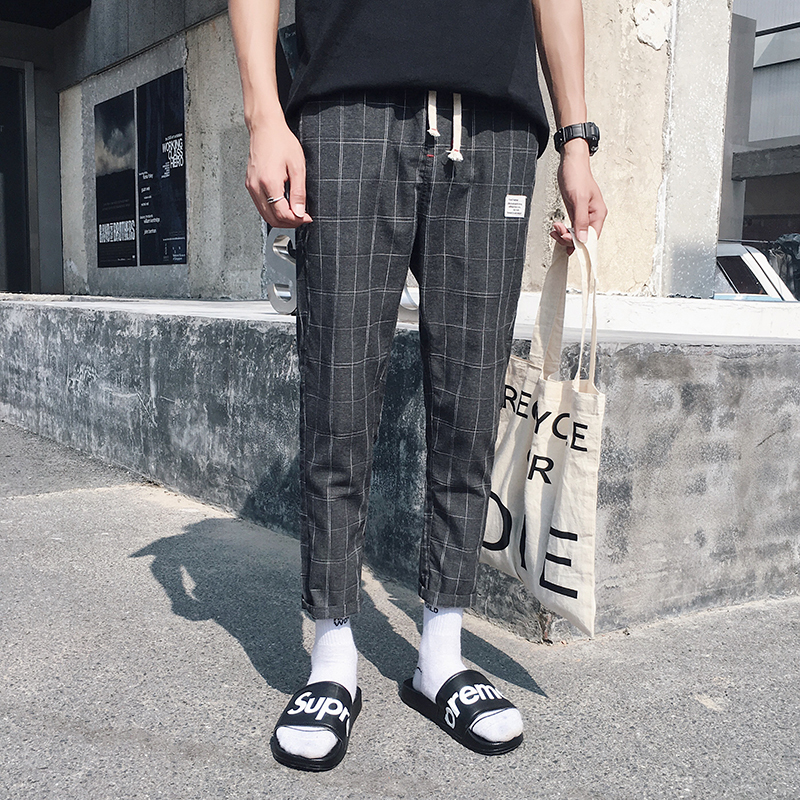 18 New Pattern Lattice Leisure Time Man Nine Part Pants city boy personality popular letter hiphop casual simple Free shipping