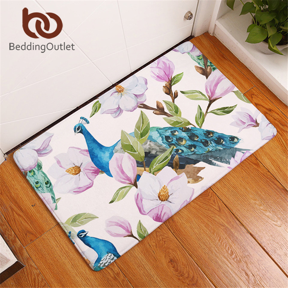 BeddingOutlet Purple Flower Peacock Carpet Polyester Rug Non slip ...