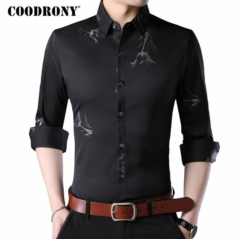 92b288232e9 COODRONY Casual Shirts Fashion Print Long Sleeve Shirt Men Dress Clothes  2018 Autumn New Arrival Plus