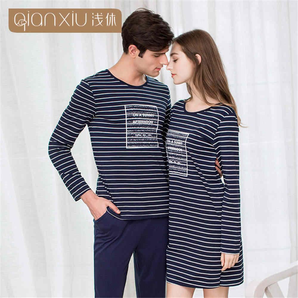 df47d0ed8b Detail Feedback Questions about Qianxiu 2019 Autumn Pajamas Men Mens Pyjamas  Cotton Stripe couple Pajamas Long sleeve Sleepwear Men Pajama Set Home  Lounge ...