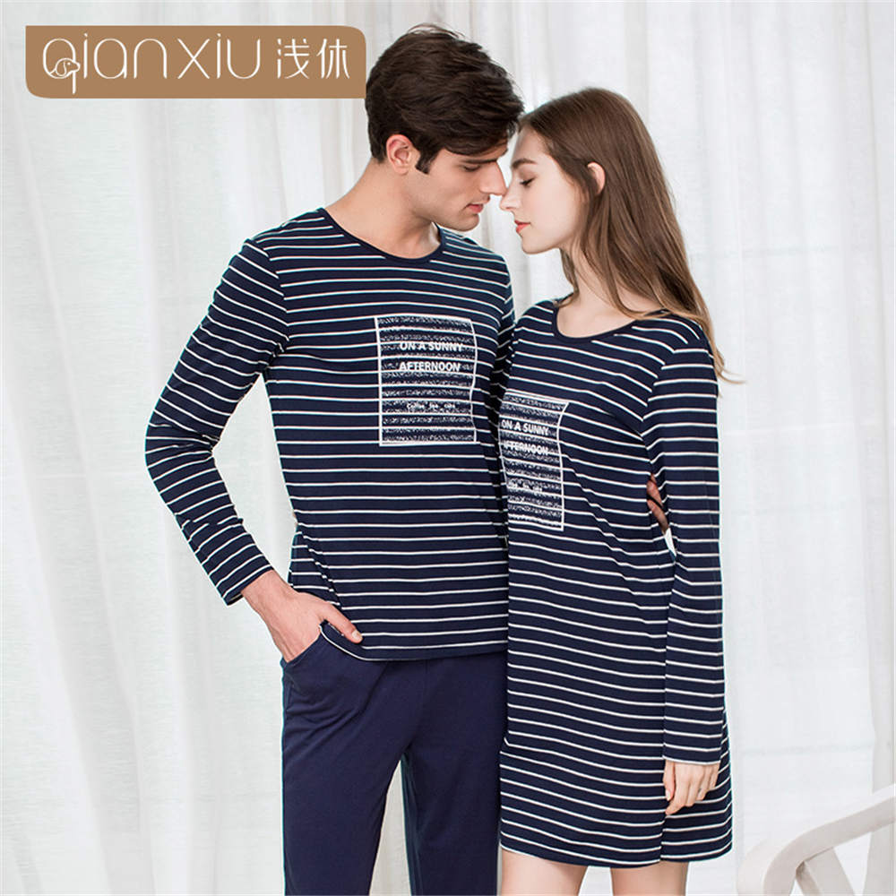 Qianxiu 2019 Autumn Pajamas Men Mens Pyjamas Cotton Stripe Couple Pajamas Long-sleeve Sleepwear Men Pajama Set Home Lounge Gift