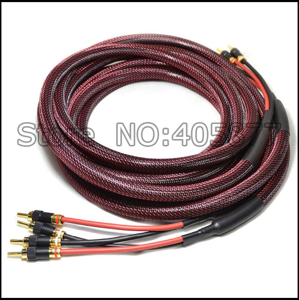 2.5m per Pair Hi-End 6square silver plated speaker cable audio speaker wire hifi with lockable banana plug