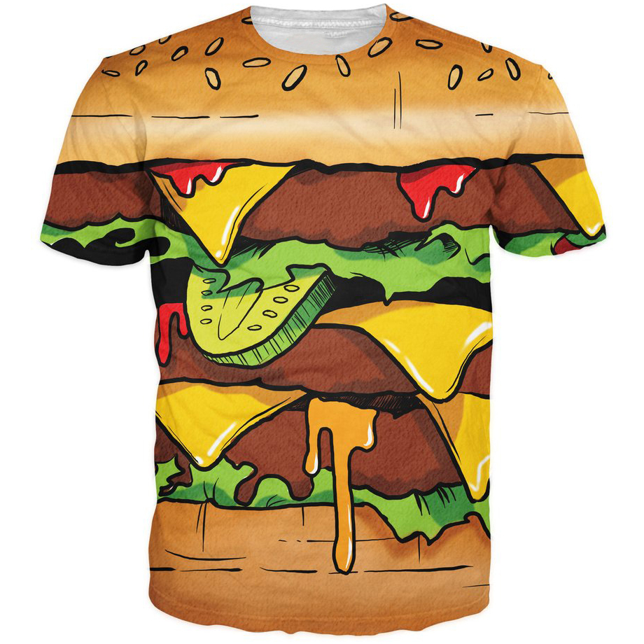 New Men Women Summer Fashion t shirts Delicious Hamburger French Fries Prints tshirts 3D Swag t