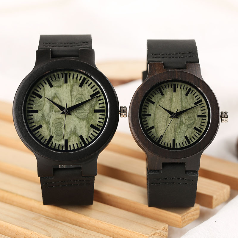 Natural Ebony Wood Watch Couple Green Tree Hole Dial Black Real Lather Band Quartz Sandal Wristwatch for Lovers Gift Men Women