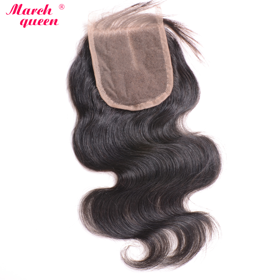 March Queen 5x5 Body Wave Lace Closure Free/Middle Part Bleached Knots Raw Indian Remy Hair Closure With Baby Hair Natural Color