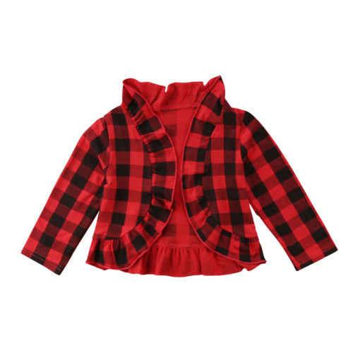 סתיו תינוק מעילי יילוד משובץ פעוטות בנות ילדים ארוך שרוול מעיל נסיכה לפרוע סוודר Fasgion מתוקה ילד בגדי מעיל