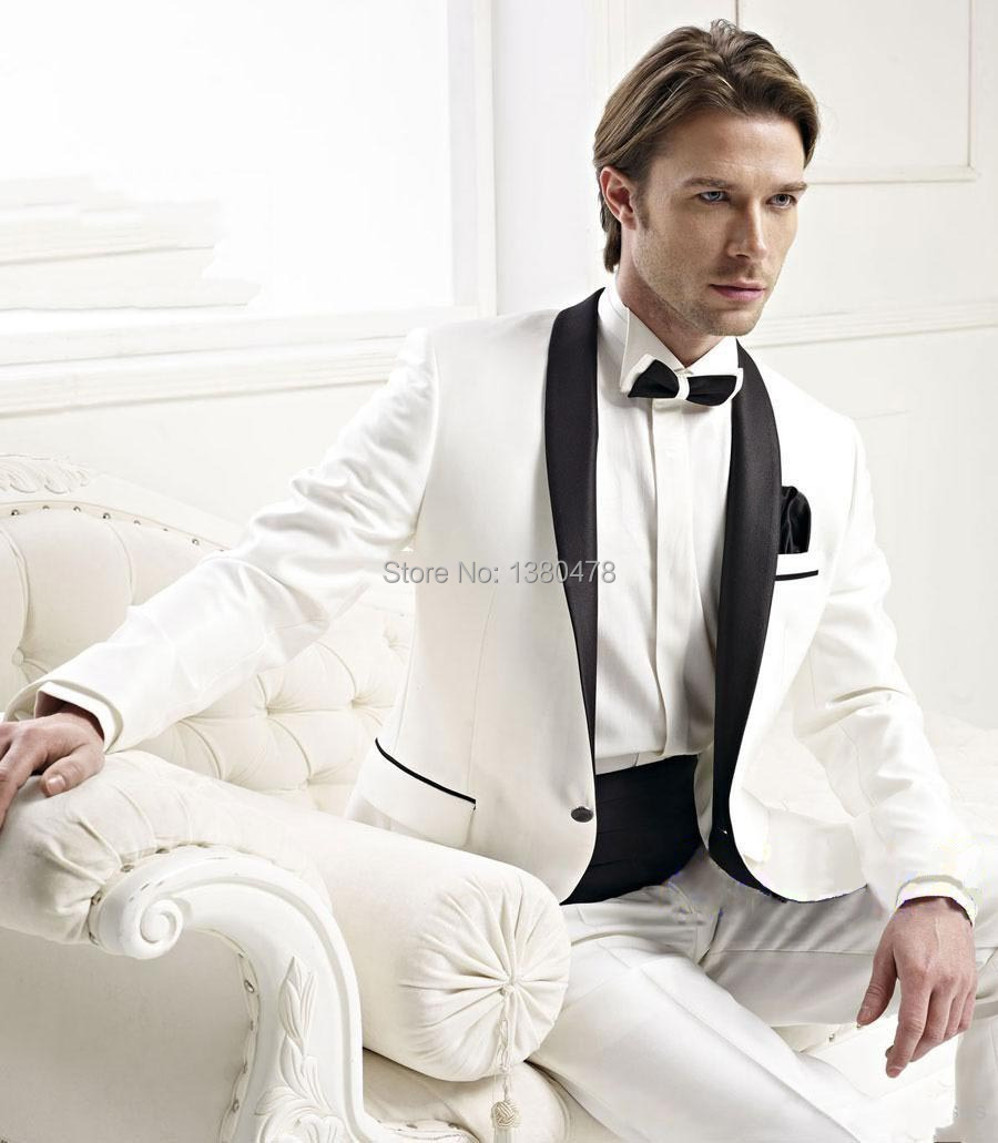 2016 nuevo estilo de un botón marfil novio Esmoquin negro satinado solapa  mejor hombre del padrino de boda de los hombres Trajes (chaqueta +  pantalones + ... 3cac7e8fba2