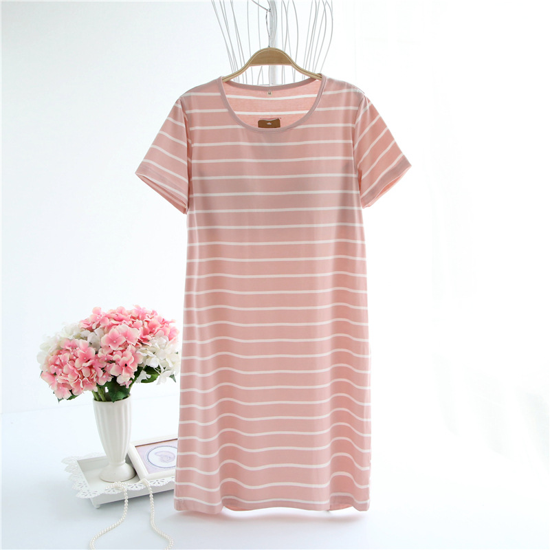 Women Cotton Nightgown Short Sleeve Thin T Shirt Night Dress Striped Night Gown Padded Nightdress Home Clothes Summer Sleepwear