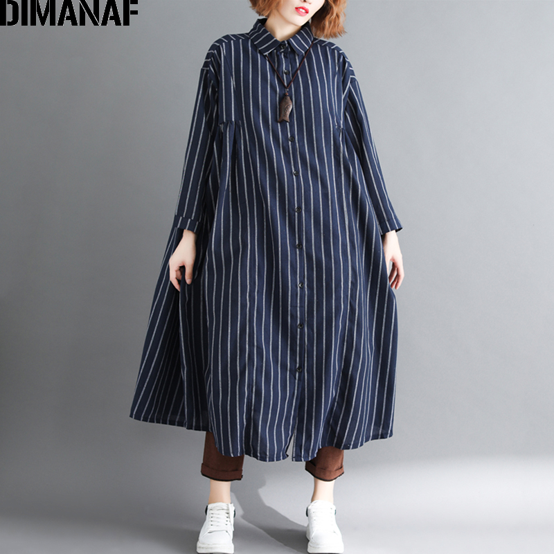 DIMANAF Women   Blouse     Shirt   Long Sleeve Cardigan Autumn Femme Big Sizes Vestidos Striped Print Loose Casual Lady Large Clothing