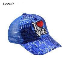SUOGRY 2019 New Snapback Sun Block horse Unisex Glitter Baseball Cap Women Men Hip-Hop Students 1pc Korean Sequins Mesh Summer