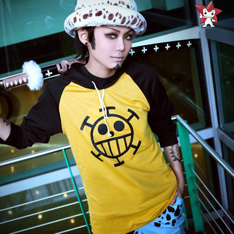 Popular Anime One Piece Trafalgar Logo Printed Hooded Cotton Jacket Leisure Style Pullover Cosplayer's Gift  For Women and Men