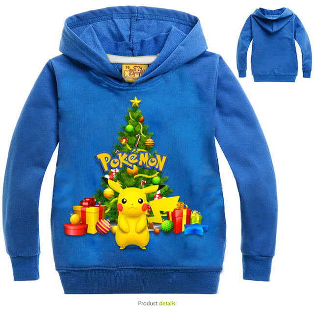 8595cf85 Autumn Christmas Children's Clothing Boys POKEMON GO Pikachu Europe And The  United States Printing Cotton Sweater Girls Holiday