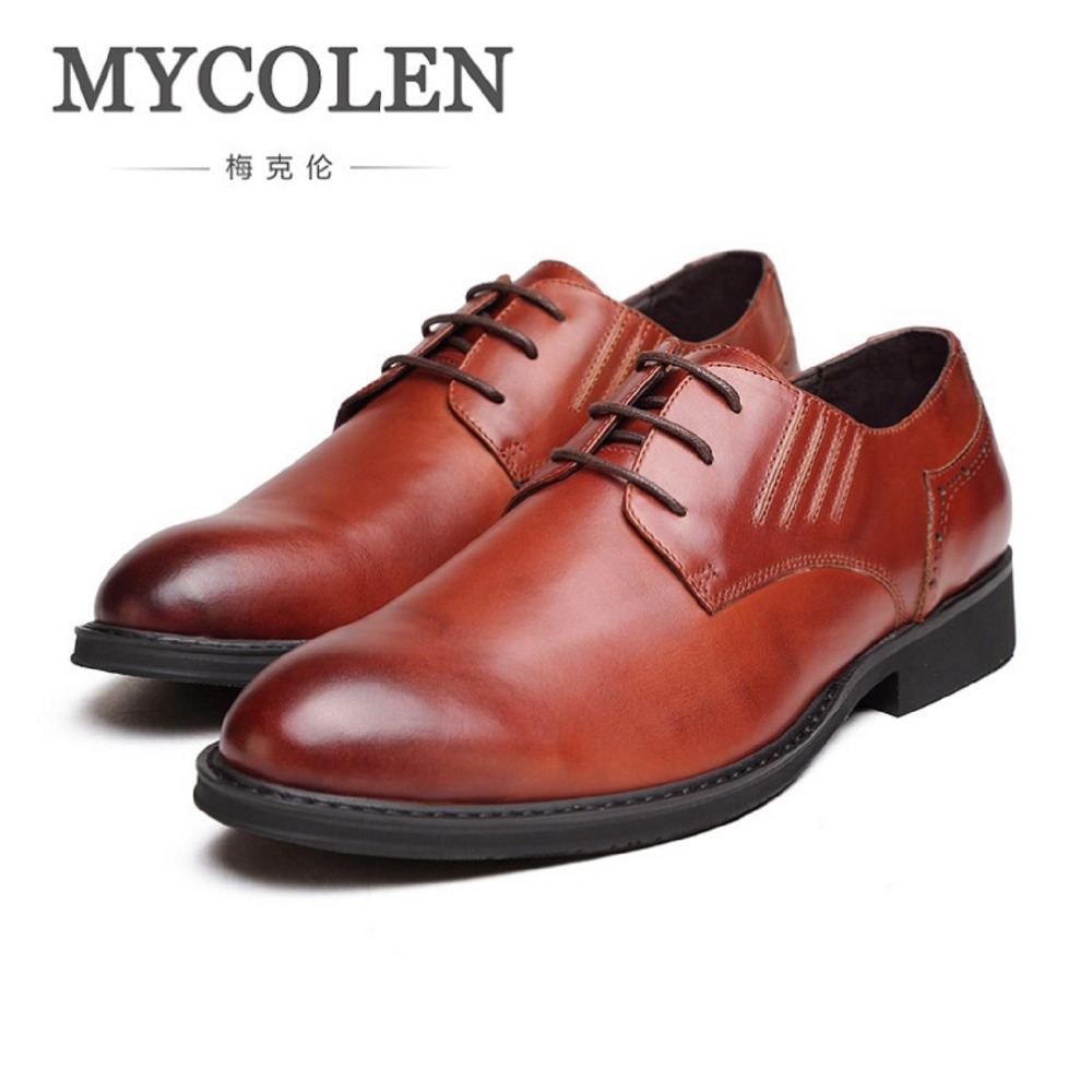 MYCOLEN Business Dress Men Formal Shoes Wedding Pointed Toe Fashion Genuine Leather Shoes Flats Oxford Shoes For Men Derby Homme