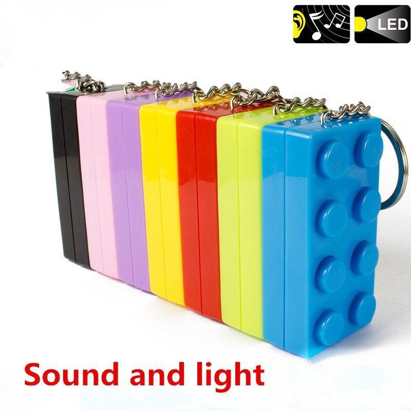 1pcs <font><b>LED</b></font> Keychain Colorful Toy <font><b>Brick</b></font> Key Ring building blocks Educational Toy For Child Key Holder Small Flashlight Action toy
