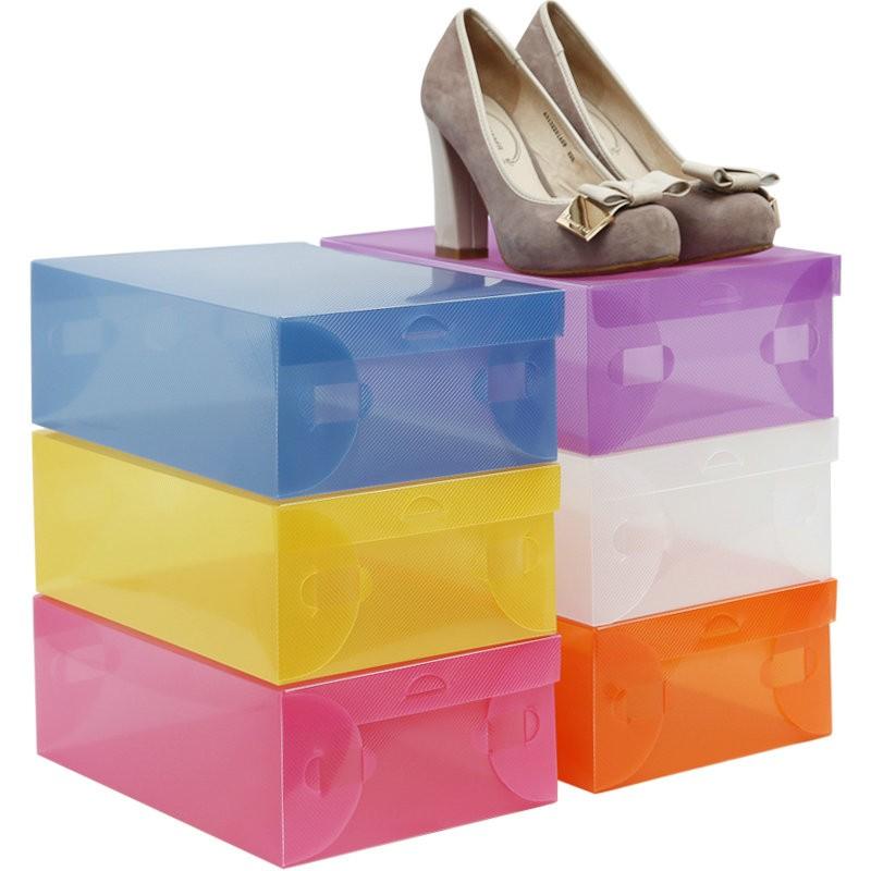 10X-Transparent-Clear-Plastic-Shoe-Boot-Box-Stackable-Foldable-Storage-Organizer