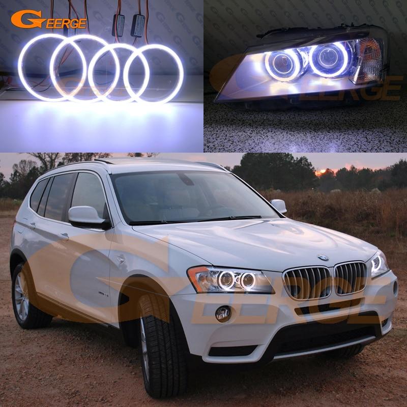 For BMW X3 F25 2010 2011 2012 2013 2014 xenon headlight Excellent Ultra bright illumination COB led angel eyes kit halo rings