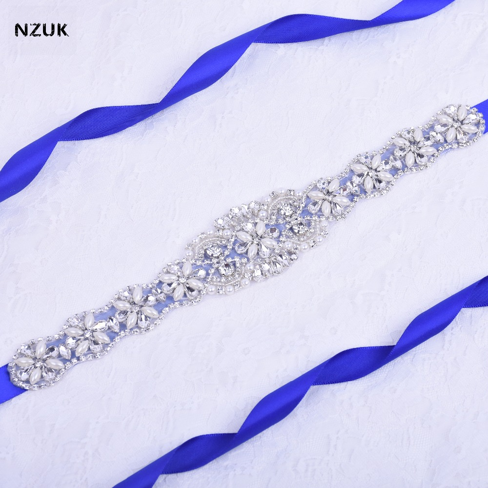 Crystal Pearls Wedding Belt Rhinestones Bridal Belt Silver Diamond Bridal Sash For Wedding Accessories Belt