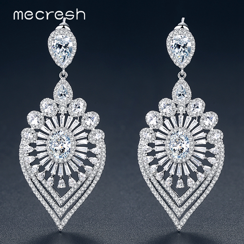 Mecresh Luxury Leaf Shape Clear Cubic Zirconia Women Drop Earrings 2018 Original Design Wedding Jewelry Bridal Earrings MEH1067 leaf decorated drop earrings