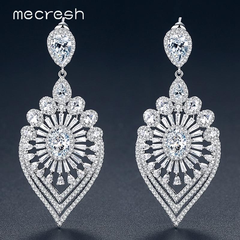 Mecresh Luxury Leaf Shape Clear Cubic Zirconia Women Drop Earrings 2018 Original Design Wedding Jewelry Bridal Earrings MEH1067 pair of rhinestone embellished lotus leaf shape drop earrings