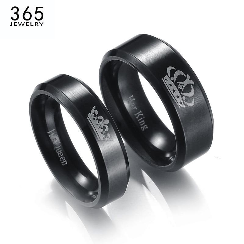 Anéis de casal de aço inoxidável, anéis para casal de rei e rainha, cor preta, coroa de letras para amantes, joias de promessa