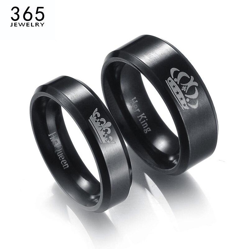 Новые Кольца для пар из нержавеющей стали король и королева черного цвета с буквенным принтом Корона Кольца для влюбленных любовь обещание ...