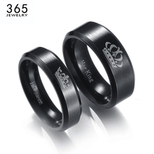 New Stainless Steel King And Queen Couple Rings Black Color Letter Crown Rings For Lovers Love Promise Jewelry