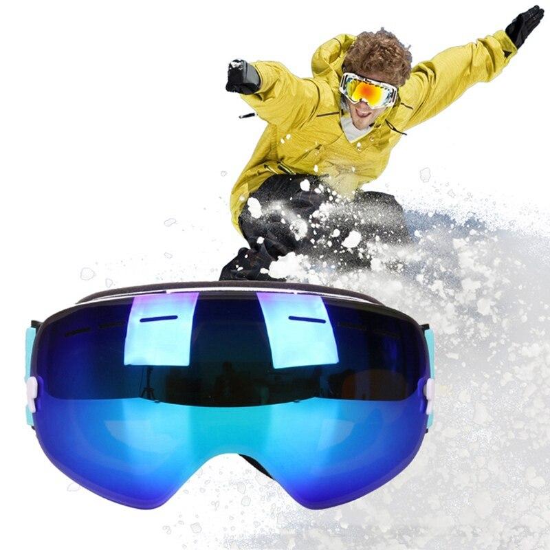 Invierno Snowboard esquí gafas de las mujeres de los hombres a prueba de polvo Anti niebla nieve esquí gafas de protección UV de nieve gafas de esquí máscara de esquí